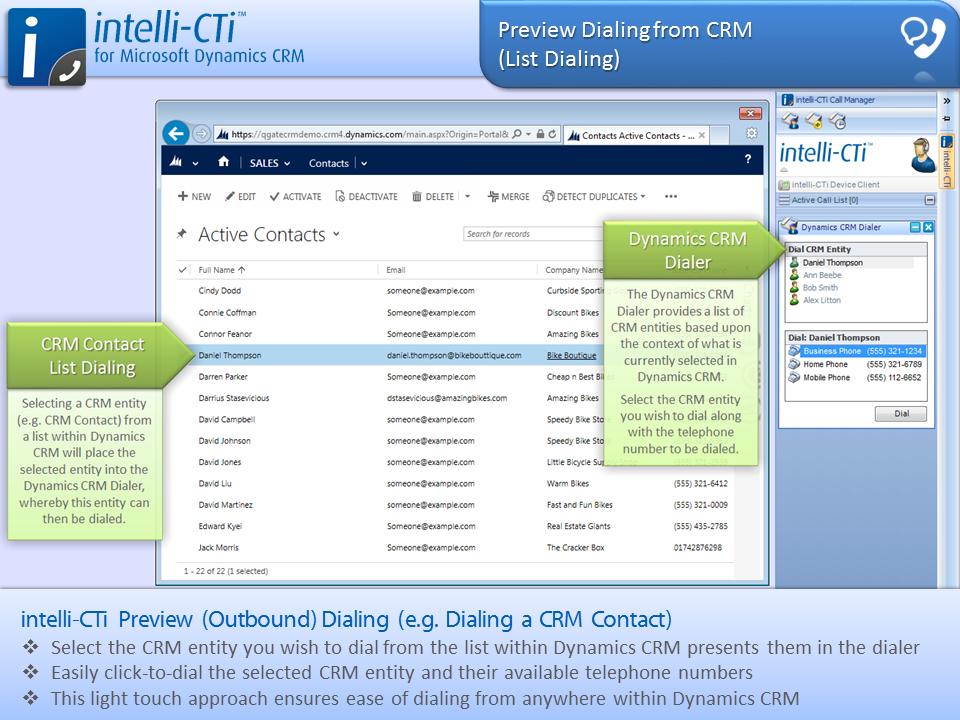 Screenshot: CTI - Outbound Dialing a CRM Contact