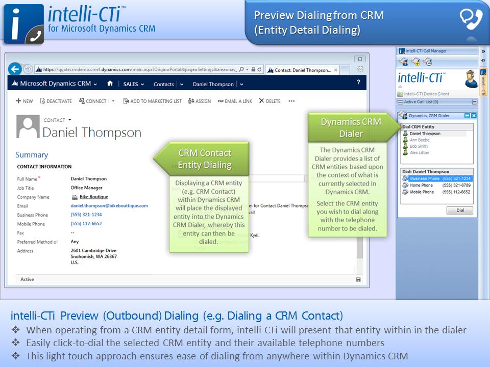 Screenshot: CTI - Preview Dialing