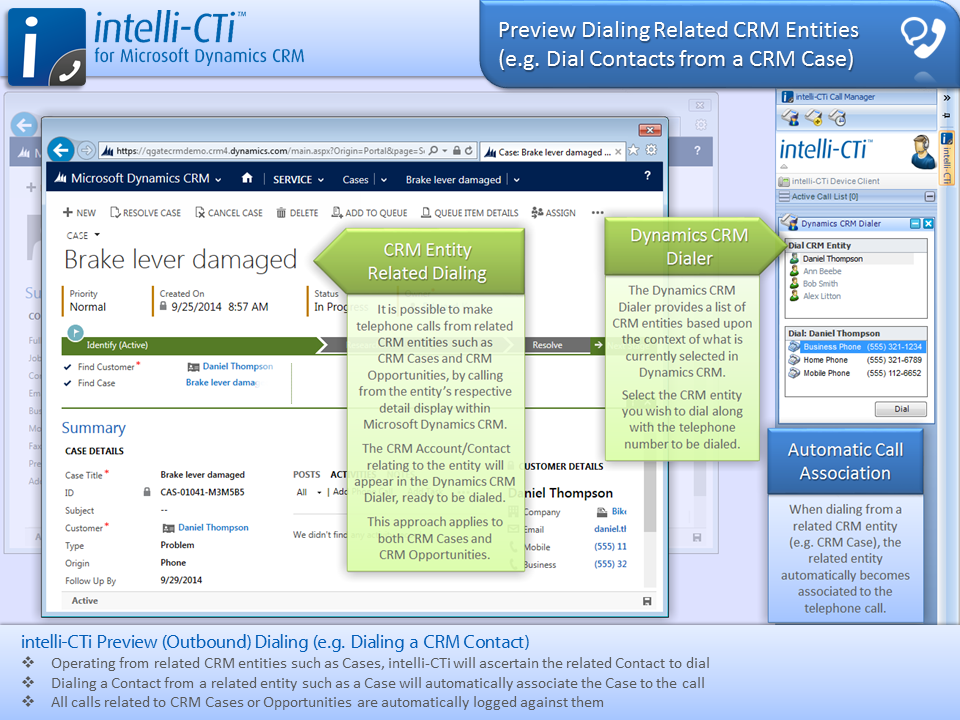Screenshot: CTI - Dialing Related CRM Entities