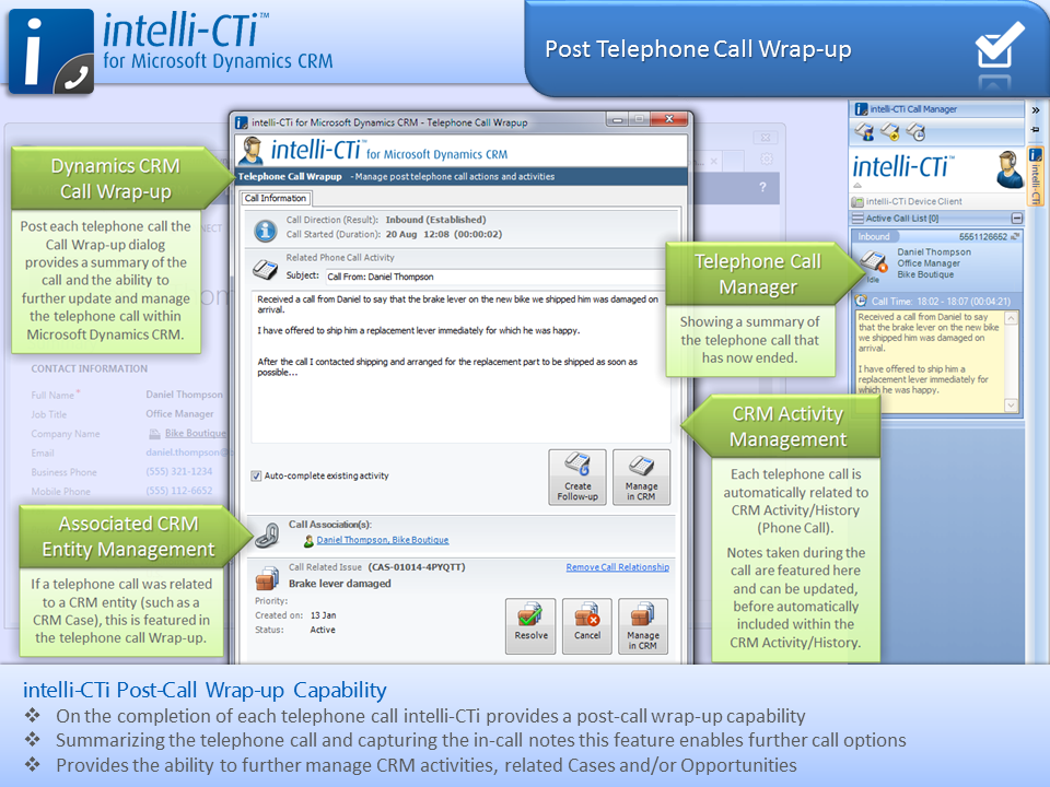 Screenshot: CTI - Post Call Wrap Up