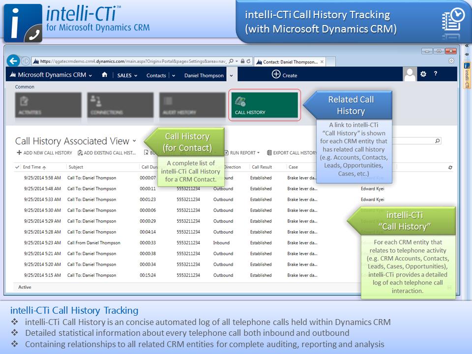 Screenshot: CTI - Call History Tracking