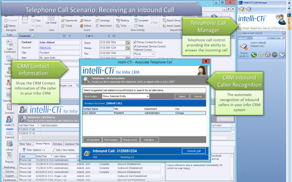 Inbound Caller Recognition in Infor CRM