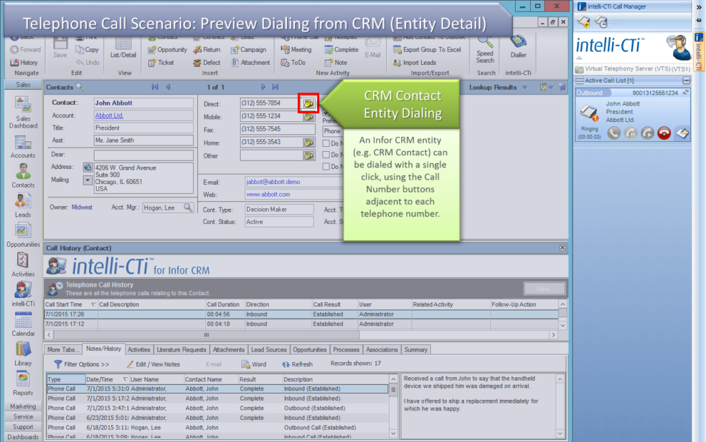 Screenshot: CTI for Infor CRM Preview Dialing from Entity Detail