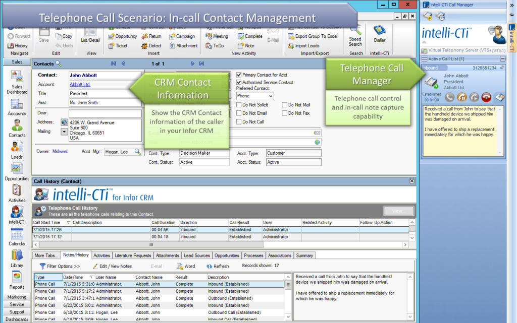 Screenshot: CTI for Infor CRM - In-Call Contact Management