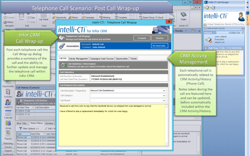 Screenshot: Post-Call Wrap-up in Infor CRM
