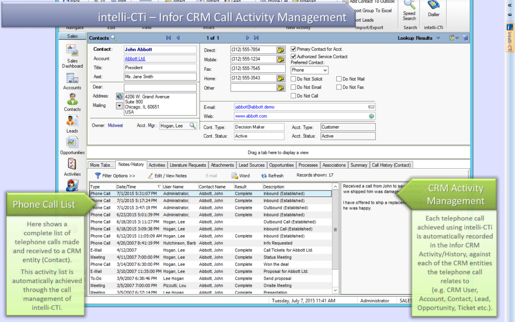 Call Activity Management in Infor CRM