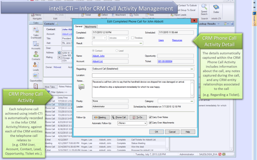 Call Activity in Infor CRM
