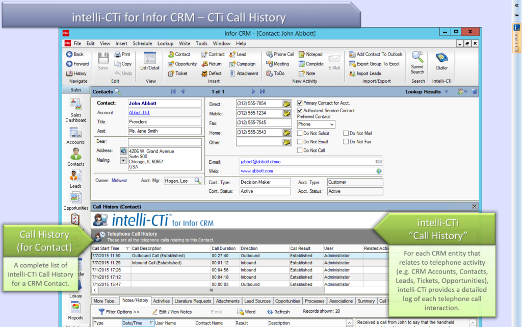 Screenshot: Call History Tracking in Infor CRM