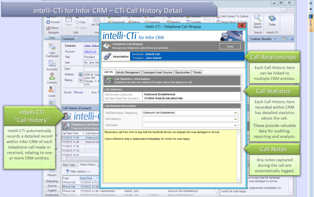 Screenshot: CTI for Infor CRM - Call History Detail