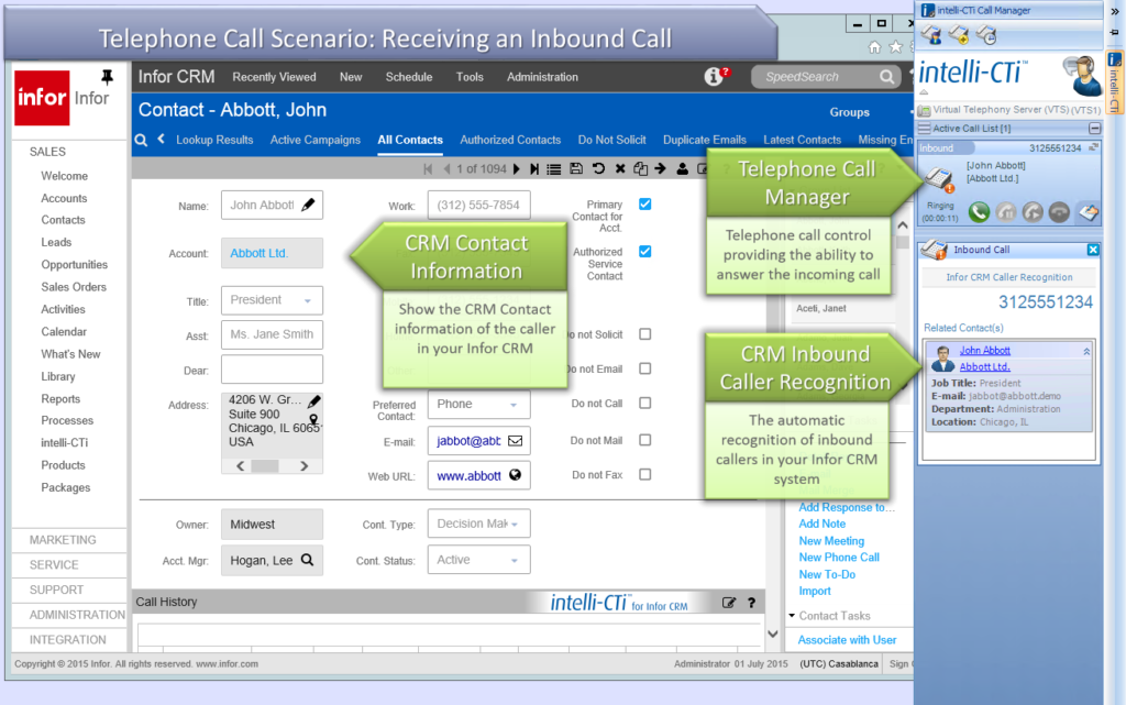 inbound caller recognition in infor crm