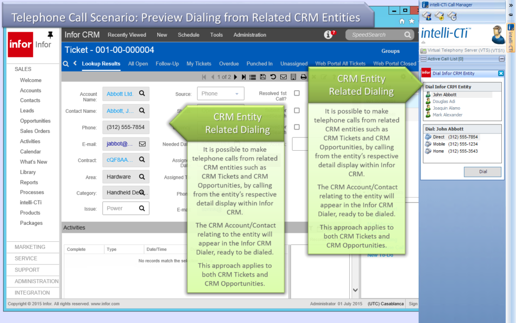 Screenshot: CTI for Infor CRM - Dialing from Related Entity