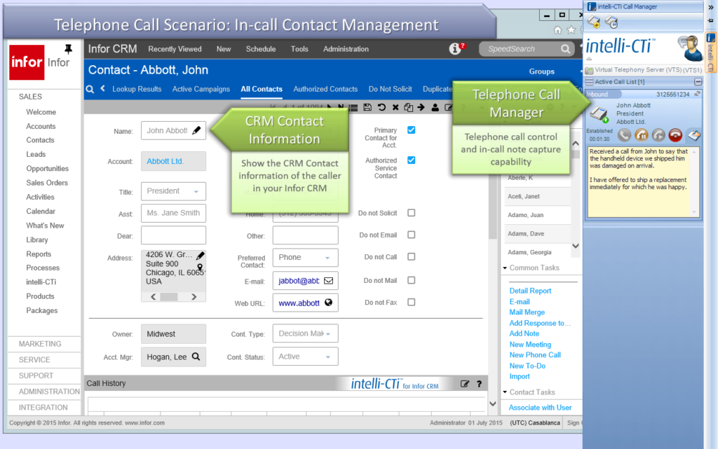 In-Call Contact Management in Infor CRM screenshot