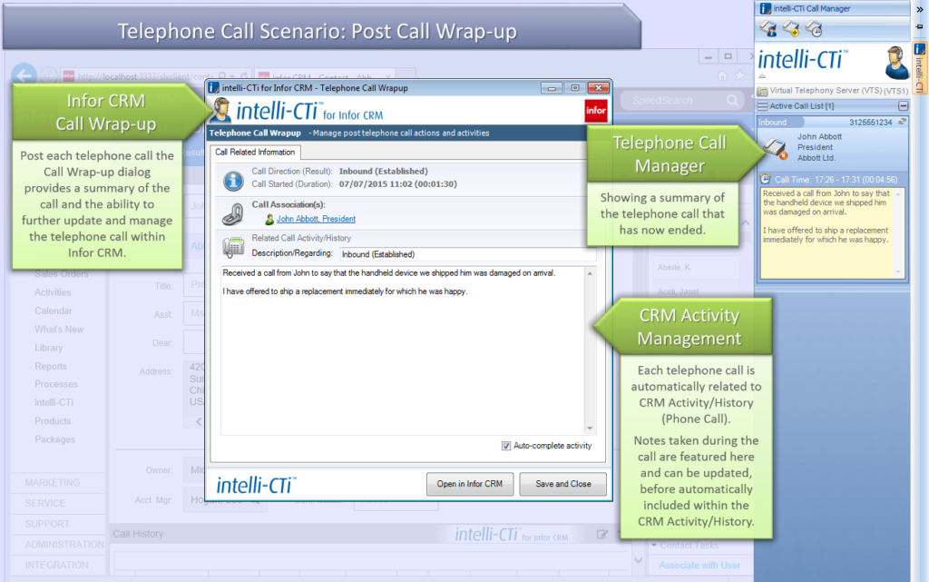 Screenshot: CTI for Infor CRM (Web Client) Post-Call Wrap-up
