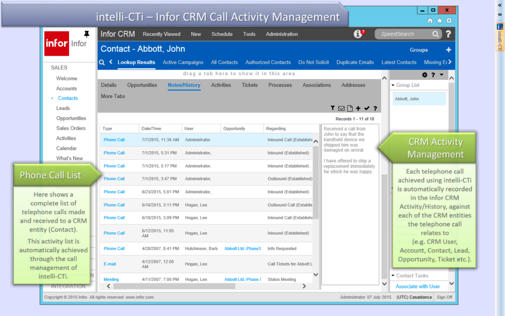 Screenshot: CTI for Infor CRM (Web Client) Telephone Call Activity Management