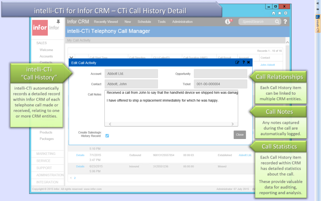Screenshot: CTI for Infor CRM (Web Client) Call History Details