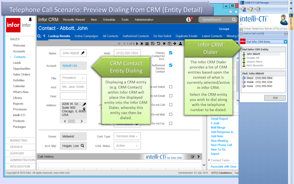 Screenshot: CTI for Infor CRM - Dialing from Entity Details