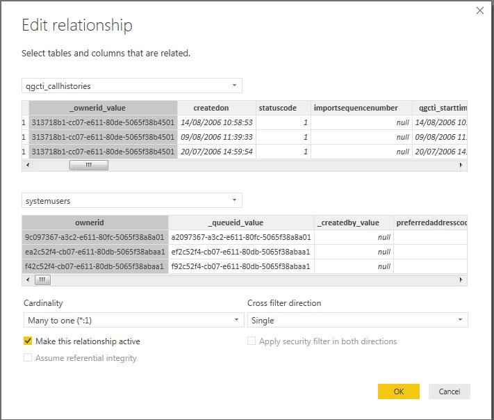 Power BI report setup - Relationships